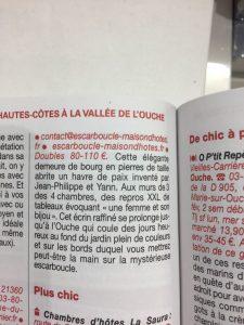 l'Escarboucle maison d'hôte bourgogne côte d'or - guide Michelin 2018 bligny sur ouche