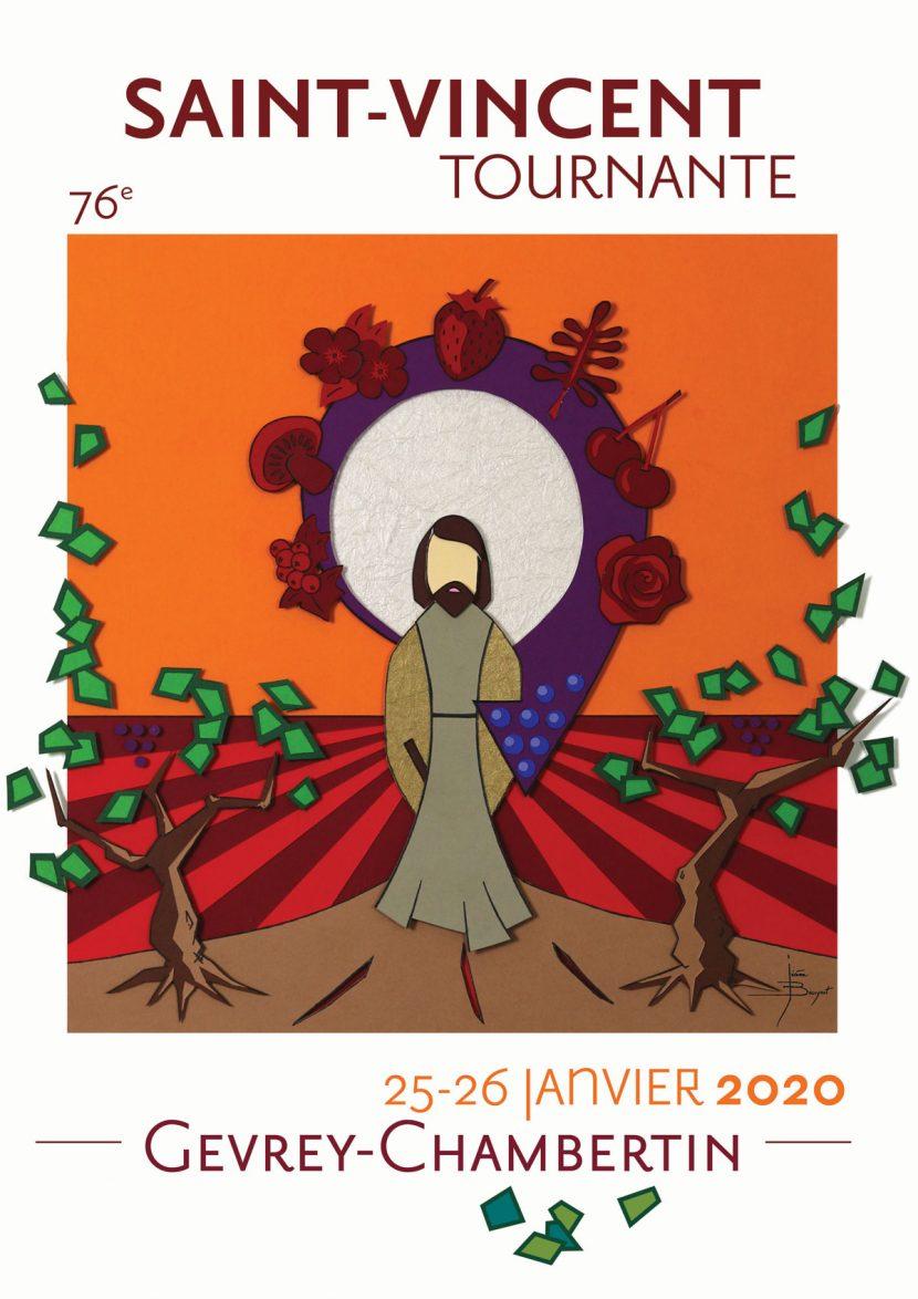 Illustration affiche de la Saint Vincent Tournante 2020 Gevrey Chambertin